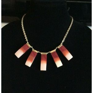 NWT Loft Gold Toned Collared Necklace Pink Pendant